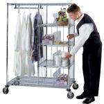 Hospitality Garment Storage Shelves / Metal Shelving Unit With Wheels