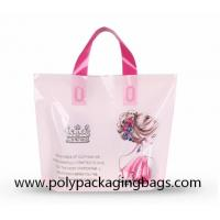 China 100 Microns Plastic Shopping Bags With Soft Loop Handles on sale