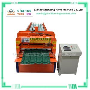 China 15 Rows Roof Panel Roll Forming Machine , Arc 828 Glazed Tile Making Machine on sale
