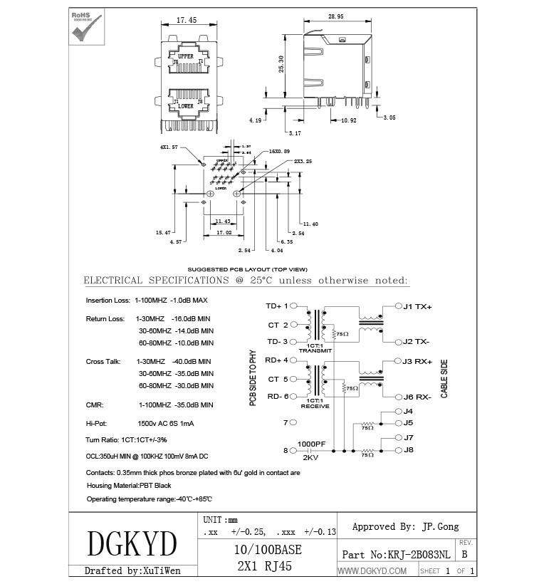 2x1 Modular Jack Stack Dual Port Rj45 Magnetics 100mb Ethernet Connector For Sale Rj45 Magnetics Manufacturer From China 91900747