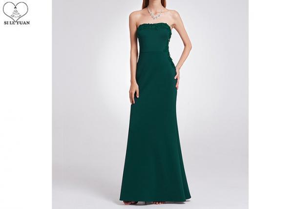 Dark Green Wedding Dresses Waist Two Side See Through Lace Elastic