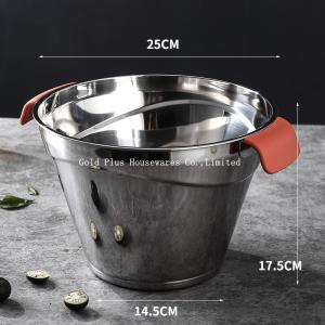 China Champagne Tin Ice 0.06cbm Stainless Steel Water Bucket For Outdoor on sale