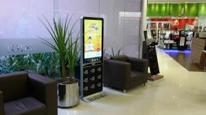 China Public Cell Phone Charging Station With Advertising Display Touch Screen on sale