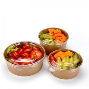China Eco Friendly Kraft Paper disposable salad bowl with PET clear lid on sale