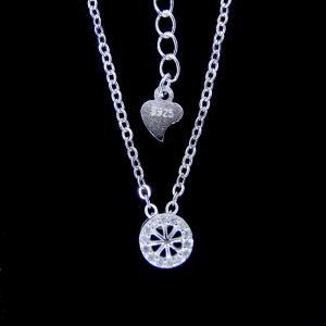 China Round Wheel Cubic Zirconia Diamond Pendant Necklace With Plated Rhodium on sale