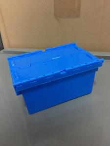 China Small Size 120*80*60 mm Plastic Stack Nest Tote Boxes Attached Lids on sale
