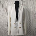 Loose Fit Casual White Blazer Double - Breasted For Office Ladies