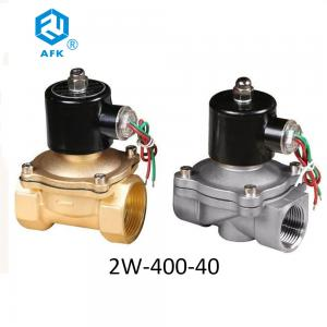 China 2W-400-40 Water Solenoid Valve DN40 Brass 1.5 Inch 110 220 Volt Direct Acting on sale