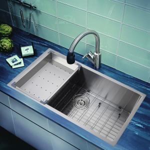China drop-in overmount topmount single bowl inox 304 handmade custom size 18 gauge  sink on sale
