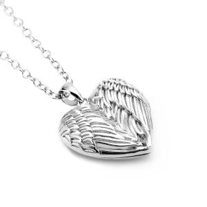 China S925 Sterling Silver Angel Wings Heart Necklace Locket on sale