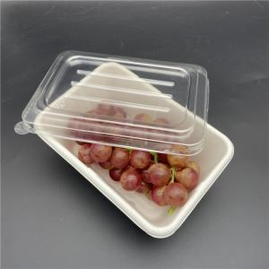 China Sanitary Rectangular Biodegradable Takeaway Containers on sale