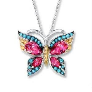China Elegant pretty Nagara Multi Color Butterfly Sterling Silver Initial Charms for women on sale