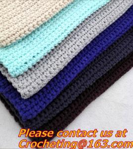 China 100% handmade Crochet Blanket colorful stripe knitted baby blanket cover knit throw blanke on sale