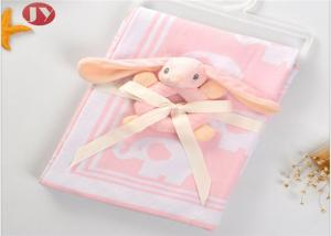 China Infant Swaddle Warm Baby Blanket 100% Cotton Knitted Soft Baby Jacquard With Animal Plush Hand Bell on sale