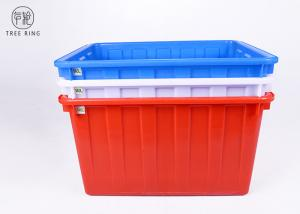 China W140 Textile Plastic Bin Boxes , Blue /  Red Industrial Stacking Large Plastic Tubs on sale