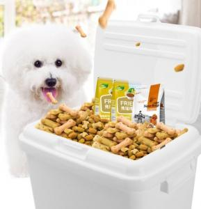 China Pet food plastic pails with lid, dog /cat food plastic bucket/barrels, square plastic pail bucket with handle and lid fo on sale
