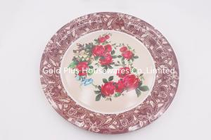 China 50cm New design round shape flower decal printed tray gift serving tray for wedding on sale