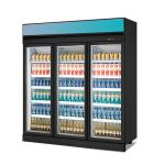 1600L Glass Doors Defrosting Supermarket Refrigerated Showcase Beverage Cooler