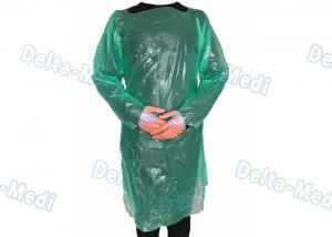 China Green CPE Disposable Plastic Gowns , Anti Liquid Long Sleeve Hospital Gowns on sale