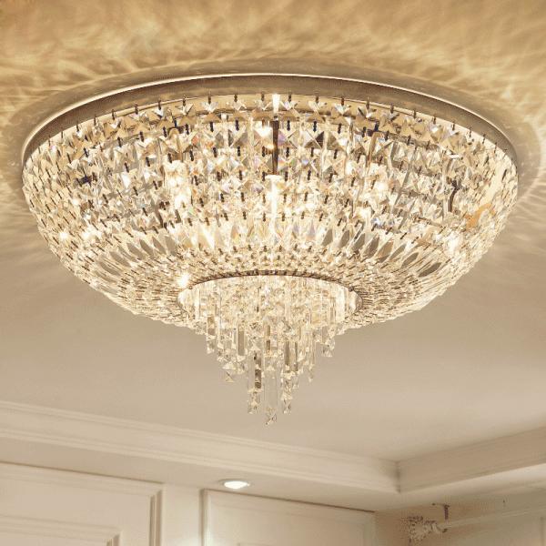 Crystal Flush Ceiling Lights Uk Round
