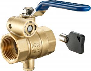 China 1702-DC Long Lever F x F Mechanical Key Lock Brass Shut-off Valve Ball Type Size DN20 DN25 DN32 with Bottom Meter Outlet on sale