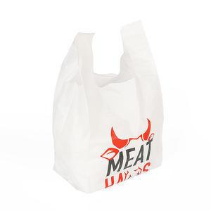 China Shopping Recycled Soft Texture Eco Friendly T Shirt Poly Bags With Handles Logo on sale