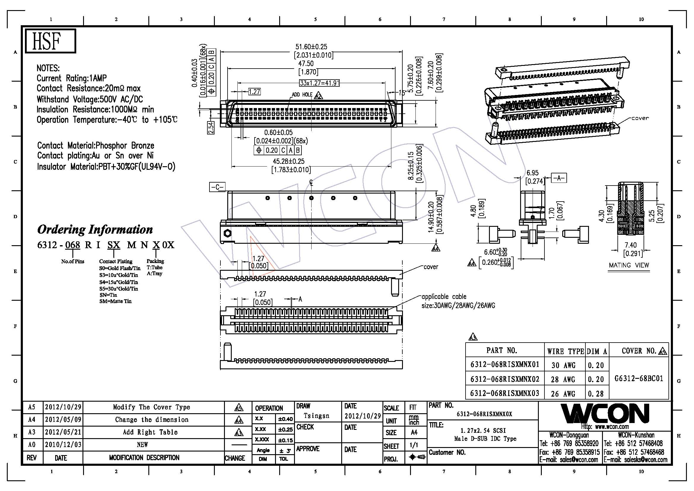 scsi wiring diagram 1 27mm pitch 68p male head type computer pin connectors au or sn  1 27mm pitch 68p male head type