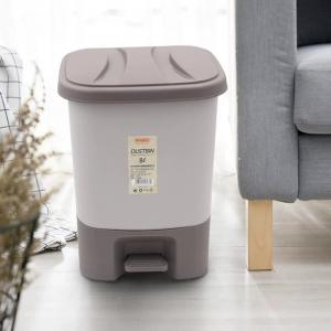 China 8 LITER Hand Press Food Pedal Trash Can With Lid Office on sale