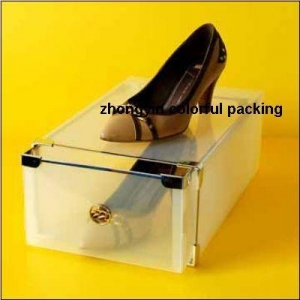China Shoe storage boxes Clear drawer shoe boxes with metal strip on sale