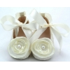 China Beautiful elegant laca fabric with white flower baby dress shoes BHGB0493 for sale