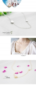 China factory direct sale silver color double heart shape necklace on sale