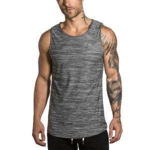 China Gym Tanks lightweight heather grey men fitness tank on sale