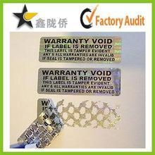 China Tamper evident holographic label / Security Hologram VOID sticker on sale
