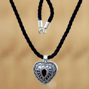 China Heart Shaped Sterling Silver and Garnet Locket Necklace, 'Secret Love' on sale