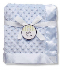 China Baby Starters Textured Dot Blanket with Satin Trim, Blue 30 x 40 wholesale