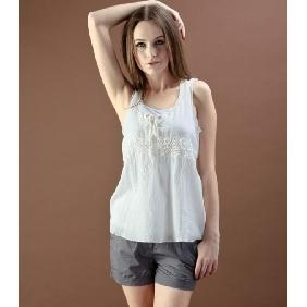 China Women European Style White Cotton Casual Lace Tank Tops on sale