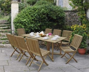 China Shelley Outdoor Drop Leaf Table and Arm Chairs (C) on sale
