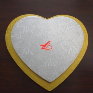 China Cake Drums Gold and Silver Heart Shaped Cake Board on sale