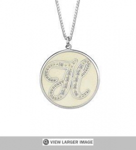 China CZ Sparkling Initial Pendant Necklace on sale