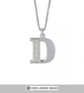 China BIock Initial and CZ Pendant Necklace on sale