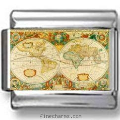 China Antique Map of the World Photo Charm on sale