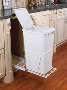 China Trash & Recycle 50 quart sliding trash bin with lid and full extension glides - 12 1/4 wide on sale