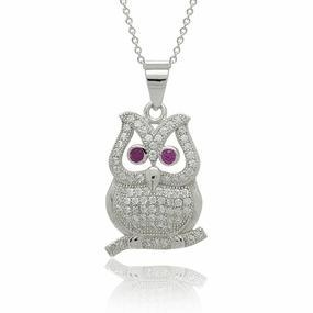 China Sterling Silver CZ Micro Pave Set Owl Bird Pendant Necklace 18 on sale