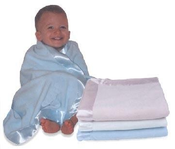 China MicroFleece Baby Blankets with Satin Trim