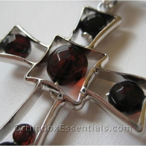 China Religious Jewelry(38) Elegant Amber & Silver Cross Pendant on sale