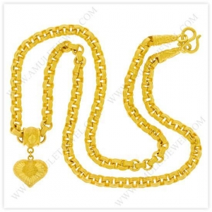 China 1 Baht Matte Diamond-Cut Hollow Round Box Chain Heart Pendant Necklace in 23k Thai Yellow Gold on sale