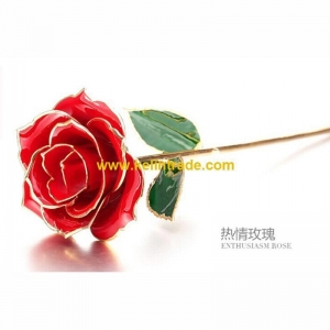 China 30CM 24K Gold Dipped Rose in Red Color on sale