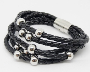 China Black PU leather wrap braided bracelets with magnetic clasp (leather bracelet wholesale) on sale