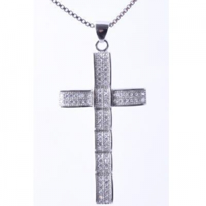 China NS12012 Rhodium plated sterling silver Cross pendant necklace on sale