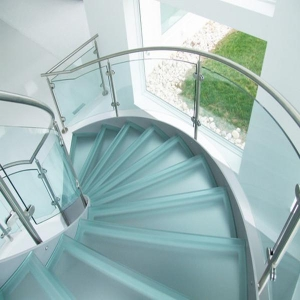 China Staircase Indoor Curved Stainless Steel Glass Staircase PR-C30 on sale
